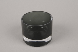 B504W3 Glass candle jar black D8.5cm H7.5cm
