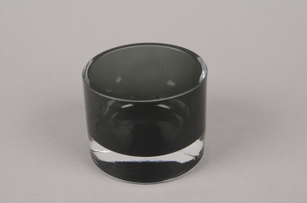 B504W3 Photophore en verre noir D8.5cm H7.5cm