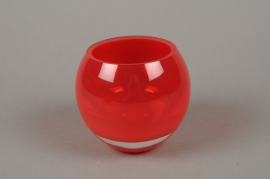 B505W3 Red glass sphere vase H10cm