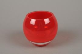 B505W3 Vase verre boule rouge H10cm