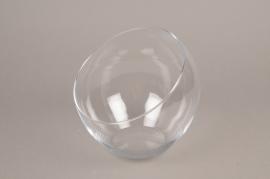 B507W3 Vase boule en verre biseauté D18cm H19cm
