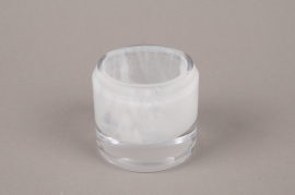 B509W3 Glass candle jar white D6.5cm H6.5cm