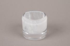 B509W3 Photophore en verre blanc D6.5cm H6.5cm