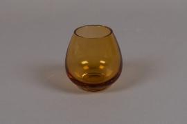 B511W3 Amber glass vase D9cm H9cm