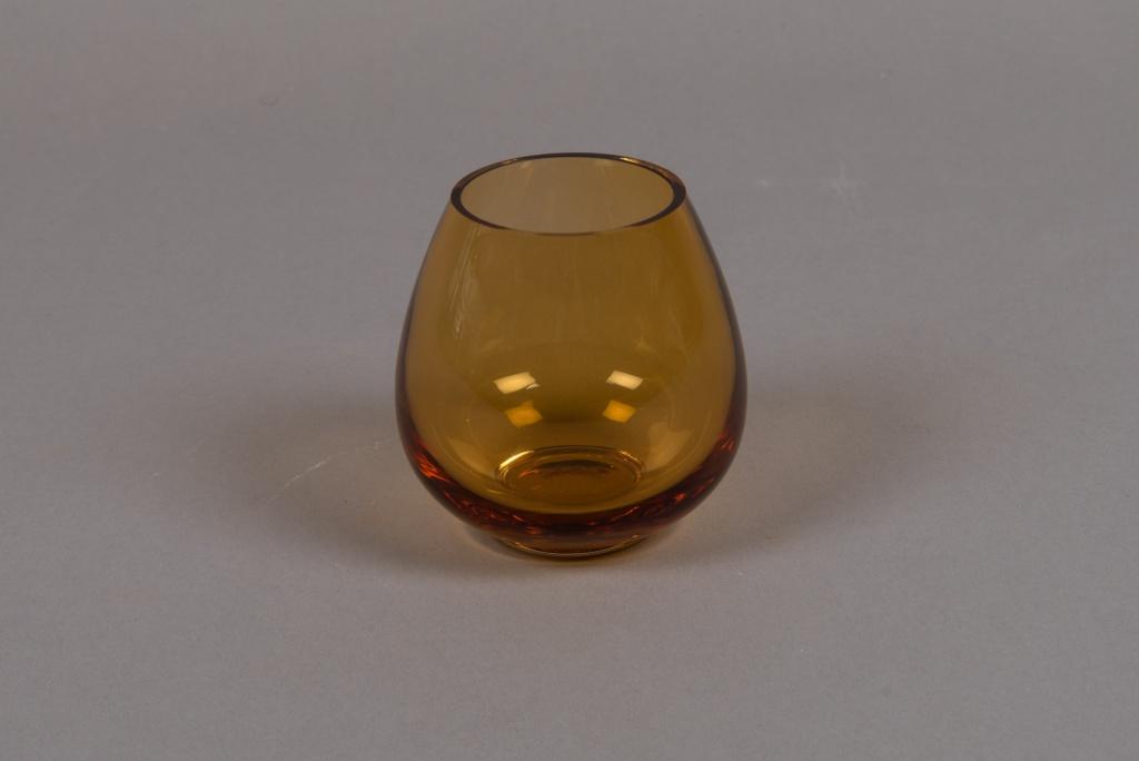B511W3 Vase en verre ambre D9cm H9cm