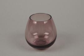 B512W3 Purple glass sphere vase D8.5cm H9cm