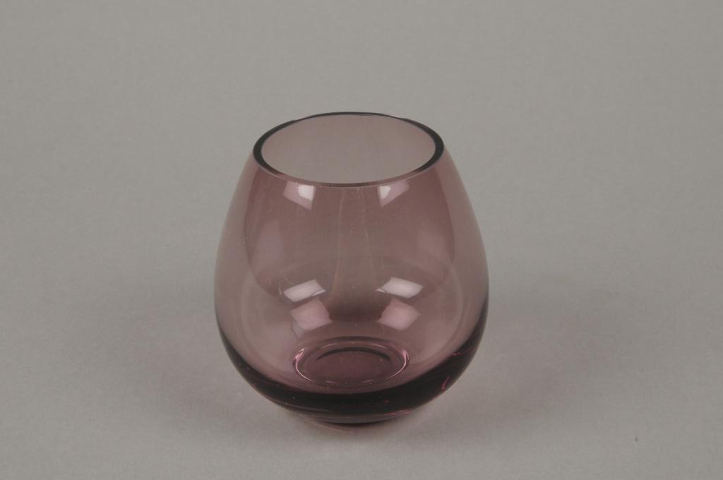 B512W3 Vase en verre boule violet D8.5cm H9cm