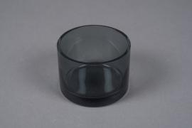 B513W3 Vase verre cylindre gris fumé D9cm H6.5cm