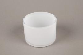 B514W3 Vase verre cylindre blanc D9cm H6.5cm