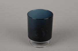 B515W3 Vase verre cylindre fumé bleu D11cm H15cm