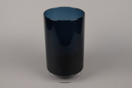B516W3 Vase verre cylindre fumé bleu D19cm H34cm