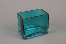B524W3 Jardinière en verre bleu 11.5x7.5cm H10cm