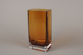 B525W3 Amber glass vase 8cm x 12.5cm  H25cm