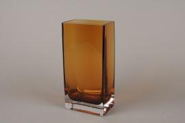 B525W3 Vase en verre ambre 8cm x 12.5cm  H25cm