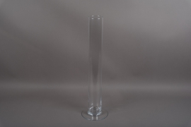 B529W3 Vase en verre cylindre sur pied D9.5 H75cm