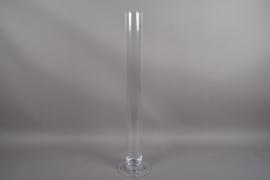 B530W3 Vase en verre cylindre sur pied D9.5 H100cm