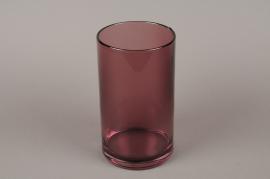 B533W3 Vase verre cylindre fumé aubergine D14cm H25cm