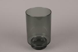 B534W3 Vase en verre fumé noir D13cm H21cm