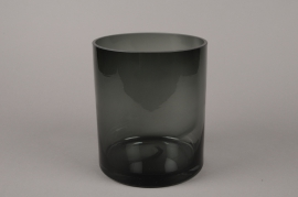 B537W3 Vase verre fumé noir D16cm H20cm