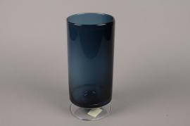 B542W3 Vase verre cylindre fumé bleu D12cm H27.5cm