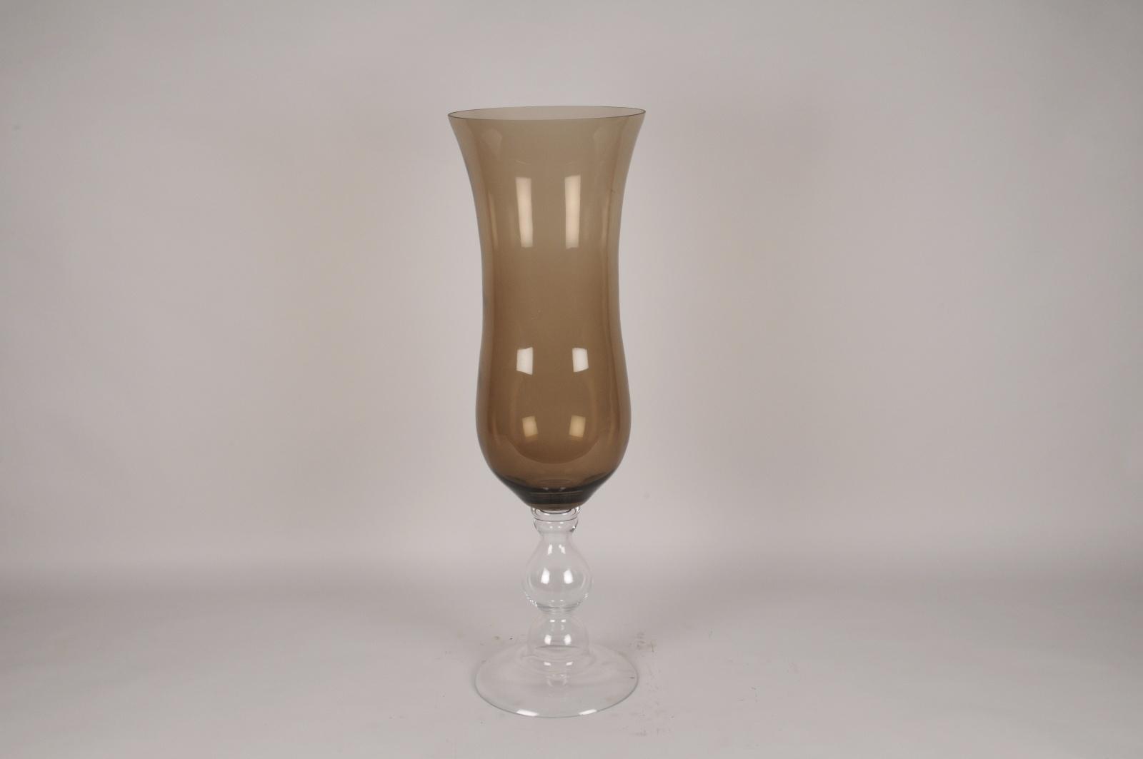 B547W3 Vase en verre sur pied ambre D29cm H90.5cm