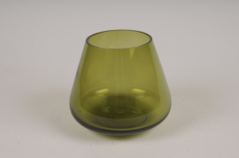 B552W3 Vase en verre vert D13cm H12cm
