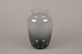 B554W3 Black glass vase D13cm H20cm