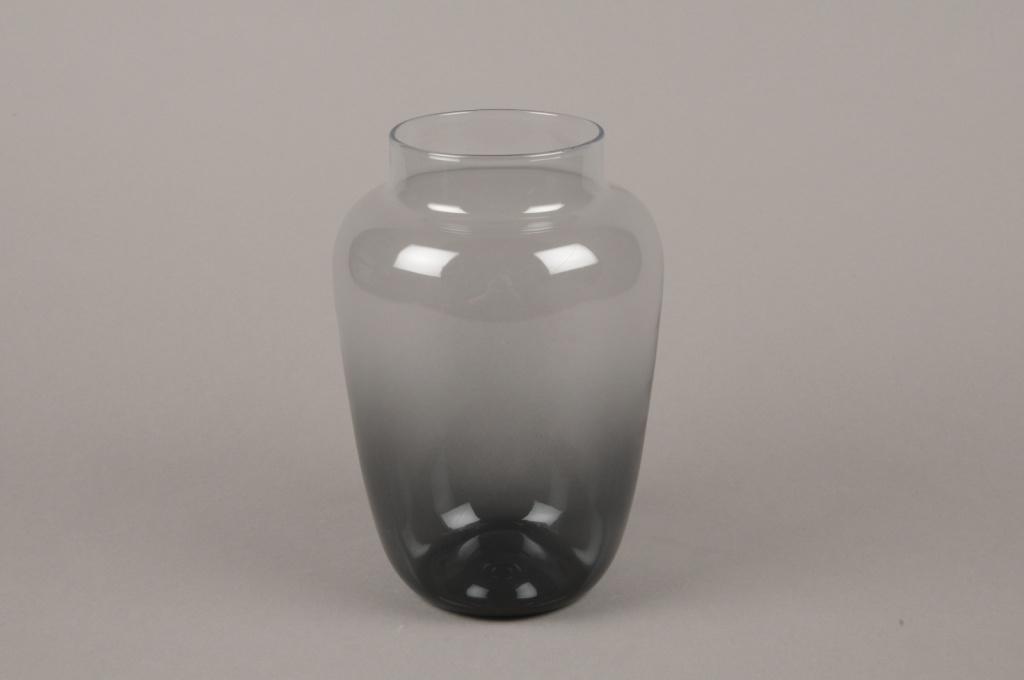 B554W3 Vase en verre obus noir D13cm H20cm