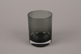 B556W3 Glass vase black D9cm H13.5cm