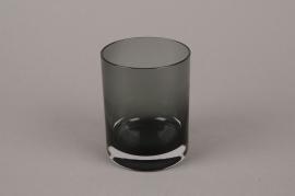 B556W3 Vase verre fumé noir D9cm H13.5cm
