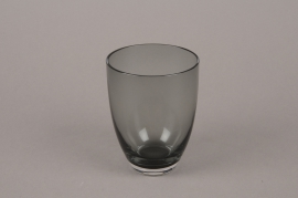 B564W3 Glass vase black D7.5cm H10.5cm