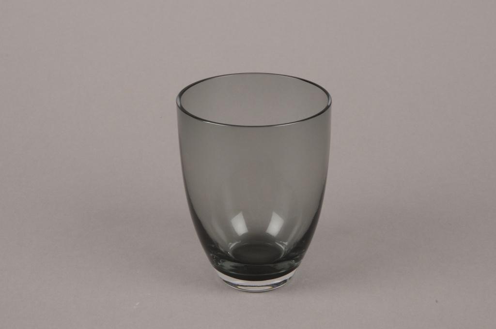 B564W3 Vase verre fumé noir D7.5cm H10.5cm
