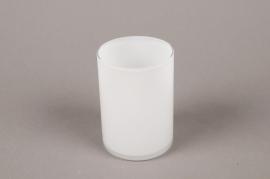 B565W3 Vase verre cylindre blanc D7cm H10cm