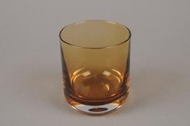 B566W3 Vase en verre cylindre ambre D8cm H9cm