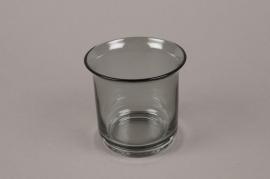 B568W3 Vase verre fumé gris D7cm H8.5cm