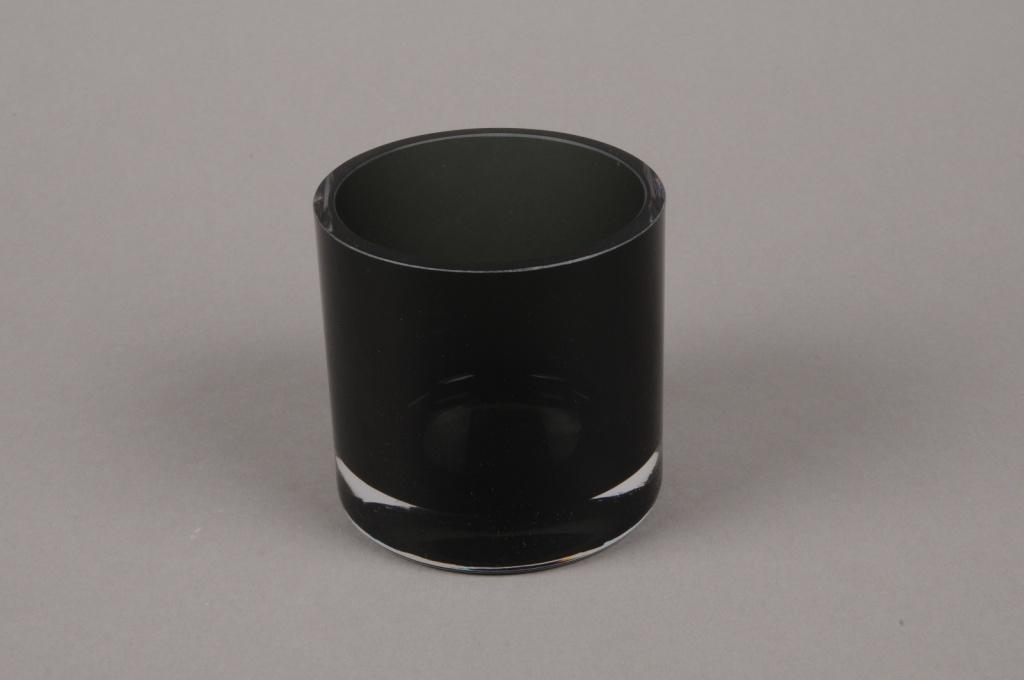 B570W3 Glass vase black D8cm H9cm