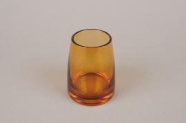B573W3 Amber glass vase D8cm H10cm
