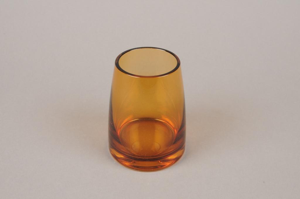 B573W3 Vase verre fumé ambre D8cm H10cm