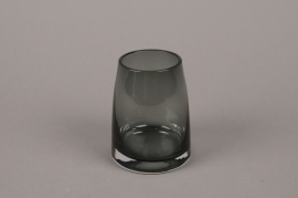 B574W3 Glass vase black D7.5cm H10cm