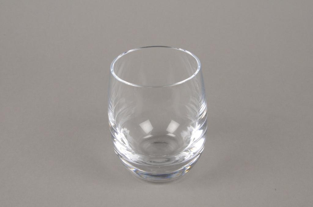 B576W3 Vase en verre arrondi D7.5cm H10cm