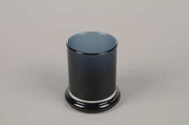 B579W3 Blue glass pot D6cm H8.5cm
