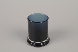 B579W3 Vase en verre cylindre bleu D6cm H8.5cm