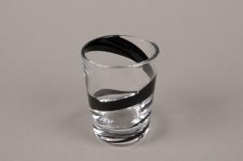 B581W3 Vase en verre spirale noire D7.5cm H10cm