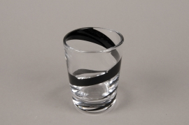 B581W3 Glass vase black spiral D7.5cm H10cm