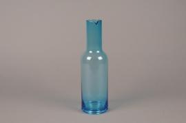 B586W3 Vase bouteille en verre bleu D9cm H30.5cm
