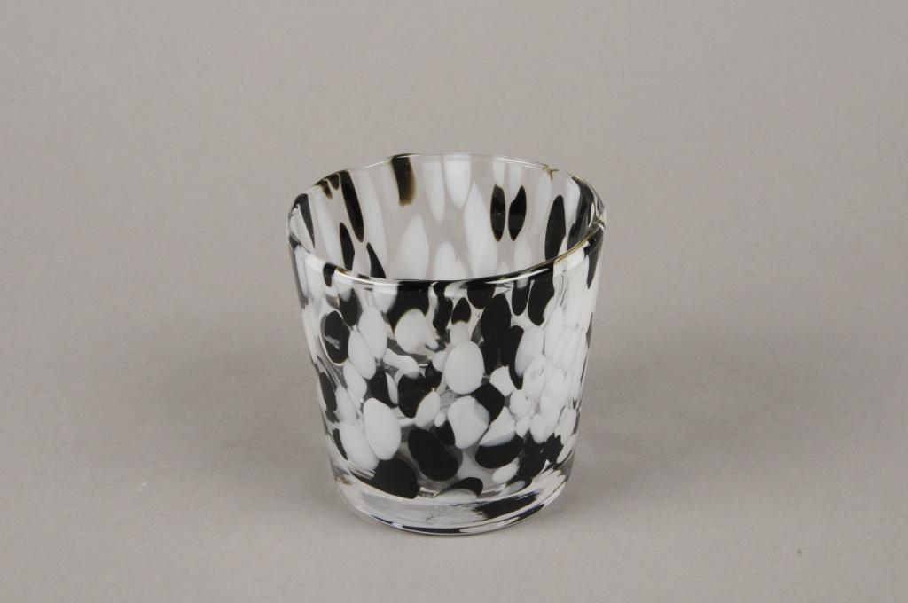 B588W3 Photophore en verre blanc et noir D9cm H9cm