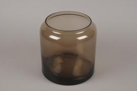 B591W3 Vase bocal en verre fumé ambre D23cm H24cm
