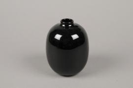 B599W3 Vase en verre obus noir D9cm H13cm