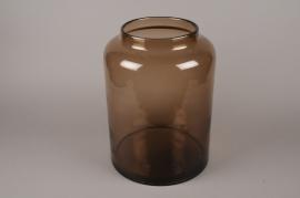 B602W3 Vase bocal en verre fumé ambre D29.5cm H41cm