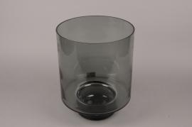 B604W3 Black glass vase D27cm H34.5cm